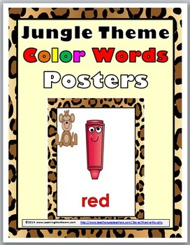 Jungle Theme Color Words Posters