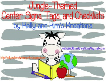 Jungle-Themed Center Signs, Tags, and Checklists