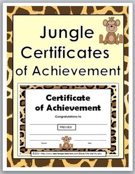 Certificates of Achievement - Jungle Theme