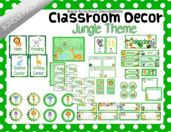 Jungle Themed Classroom Decor Bundle Pack