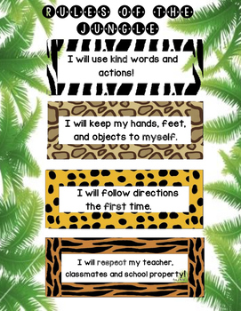 Jungle Themed Classroom Rules Poster