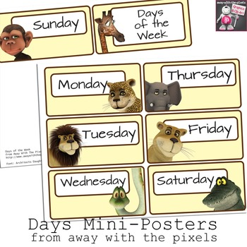Jungle Themed Mini Posters - Days of the Week
