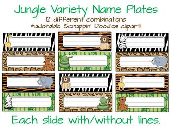 Nameplates: Jungle Themed (variety pack)