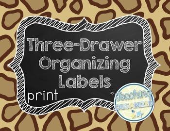 Jungle Three Drawer Organizing Labels - Print