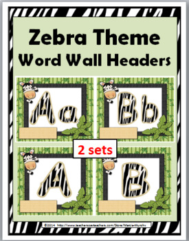 Jungle Theme with Zebra Theme Alphabet Word Wall Headers w