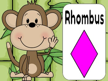 Jungle or Monkey Theme Shape Posters 2 and 3 D Shapes (12 shapes)
