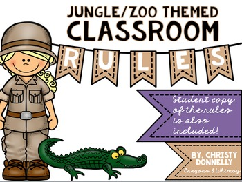 Classroom Rules for a Jungle or Zoo Themed Classroom