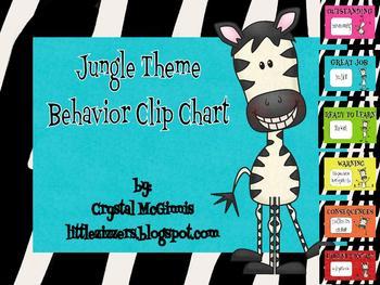 Jungle theme behavior clip chart (zebra stripes)