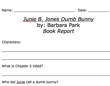 Junie B Jones Dumb Bunny Comprehension Worksheet