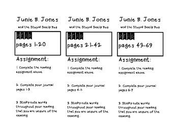 Junie B. Jones Stupid Smelly Bus - HW Bookmarks