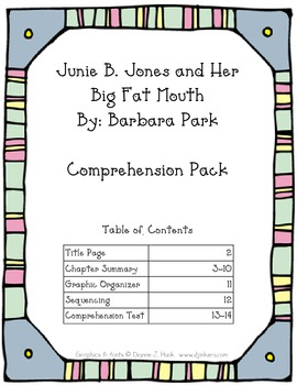Junie B. Jones and Her Big Fat Mouth Comprehension Pack