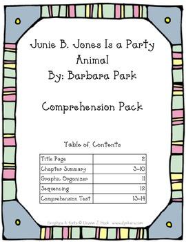Junie B. Jones is a Party Animal Comprehension Pack