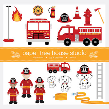 Junior Fire Fighters, Fire Station, Truck and Rescue Pup Clip Art