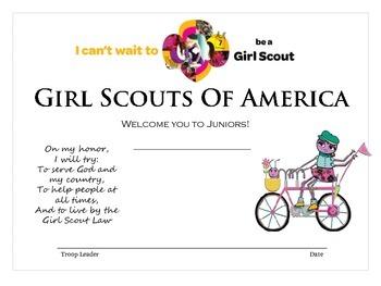 Junior Girl Scout Investiture Certificate