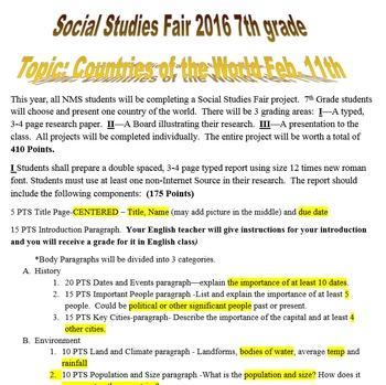 Junior High Social Studies Fair
