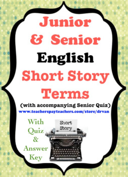 Junior and Senior English - Short Story Terms Sheet with S