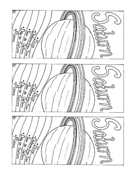 Saturn Printable Bookmark Coloring Page Solar System PDF