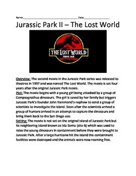 Jurassic Park 2 Lost World - Movie overview Lesson article