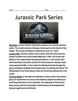 Jurassic Park World - Overview of all 4 movies - facts que