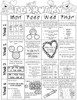 Just Add a Spiral Notebook: February Kindergarten Homework