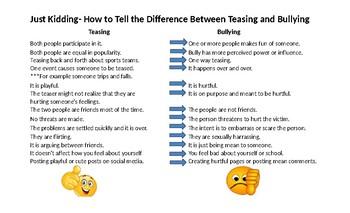 Just Kidding- Teasing vs Bullying