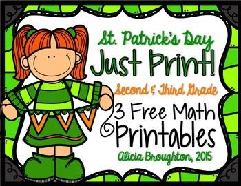 Just Print! 3 March Math Freebies - Grades 2 & 3