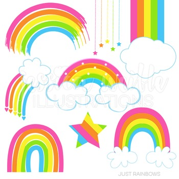 Just Rainbows Cute Digital Clipart, Pink Rainbow Graphics