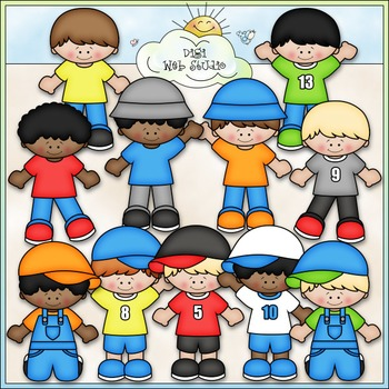 Just The Boys Clip Art - Kids Clip Art - CU Clip Art & B&W