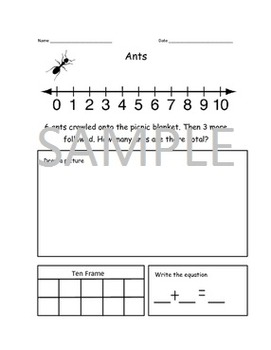 K/1 Addition Story Problems Bugs