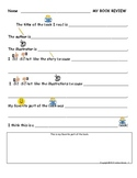 K-1 Book Review Sample for Common Core Writing Standard 1.1