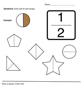 K-1 Fractions 1/2 Half Activity Worksheet