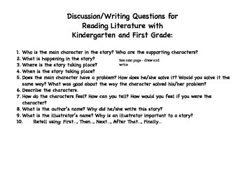 K-1 Literature Discussion Questions and Sheets