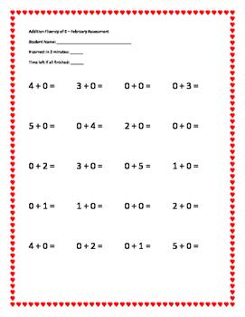 K-1 Math Fluency Assessment of +0