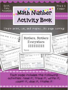 K-1 Math Number Book- Easy Assembly- A fun counting book f
