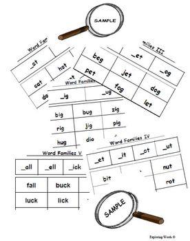 Word Families Word Sort Sampler: _at & _ot (Level K-2) - E