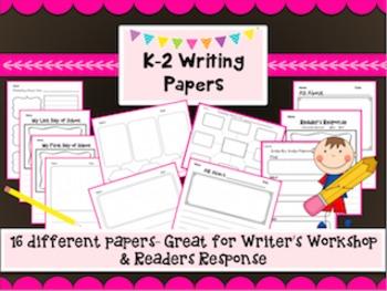 K-2 Writer's Workshop & Reader's Response Writing Paper &