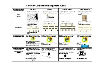 K-3 Common Core Opinion Rubrics for KIDS
