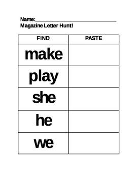 Sight Word Magazine Hunt Center Phonics key words EDITABLE