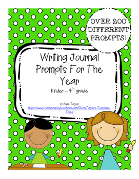 K-4 Writing Journal Prompts For the Entire Year with Cover