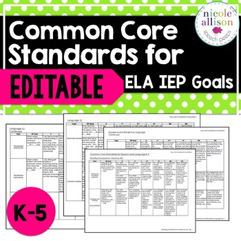 Common Core Standards for ELA IEP Goals
