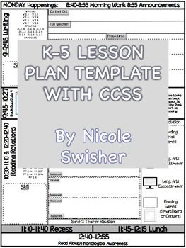 K-5 Lesson Plan Template with CCSS Attached for Reading, W