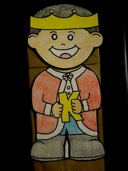 K is for King paper bag puppet