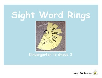 K to 7 Sight Word Rings Bundle