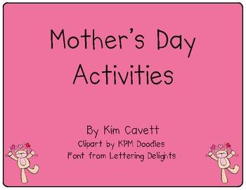K/1 Mother's Day Activities Freebie