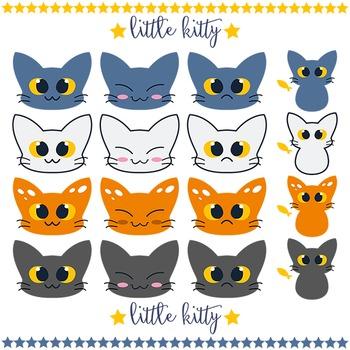 KAWAII kitty clip art set