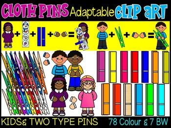 KIDS WITH CLOTH PINS- CLOTH PINS CLIP ART- ADAPTABLE TOOLS