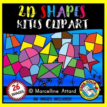KITE SHAPES CLIPART: 2D SHAPE KITES: SPRING CLIPART