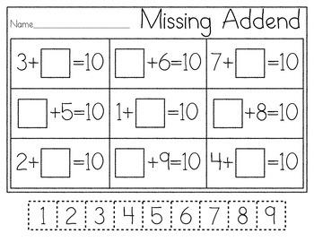 K.OA.4 Missing Addend Practice