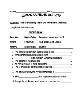 KWANZAA FILL-IN ACTIVITY