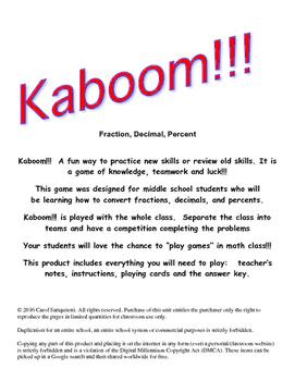Kaboom!!! Fraction, Decimal, Percent
